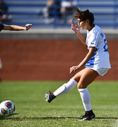 St. Louis University player Emily Groark scores the third goal for St. Louis University. St. Louis University defeated George Washington in the championship game of the Atlantic 10 Conference Women's Soccer Tournament at Robert Hermann Stadium at St. Louis University on Sunday November 10, 2019.<br /> Photon by Tim Vizer