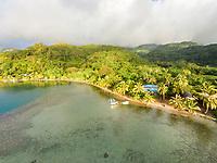 Aerial view of waterfront homes, Pufau, Tevaitoa, Raiatea, Leeward Islands, French Polynesia