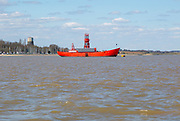 Trinity House red lightship at moorings off Shotley, Port of  Suffolk, England, UK