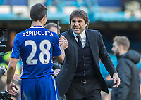 Football - 2016 / 2017 Premier League - Chelsea vs. WBA<br /> <br /> Chelsea Manager Antonio Conte shows the passion as he congratulates Cesar Azpilicueta at the end of the game at Stamford Bridge.<br /> <br /> COLORSPORT/DANIEL BEARHAM