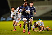 Sale Sharks wing Marland Yarde makes a break to score a try during the Gallagher Premiership Rugby match Sale Sharks -V- Wasps  at The AJ Bell Stadium, Greater Manchester, England United Kingdom, Sunday, December 27, 2020. (Steve Flynn/Image of Sport)
