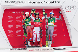 Second placed Henrik Kristoffersen of Norway, Winner Marcel Hirscher of Austria and Third placed Alexis Pinturault of France during flower ceremony after Men's GiantSlalom race of FIS Alpine Ski World Cup 57th Vitranc Cup 2018, on March 3, 2018 in Kranjska Gora, Slovenia. Photo by Urban Urbanc / Sportida