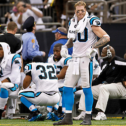 January 1, 2012; New Orleans, LA, USA; Carolina Panthers tight end Jeremy Shockey (80) watches from the sideline during the fourth quarter of a game against the New Orleans Saints at the Mercedes-Benz Superdome. The Saints defeated the Panthers 45-17. Mandatory Credit: Derick E. Hingle-US PRESSWIRE