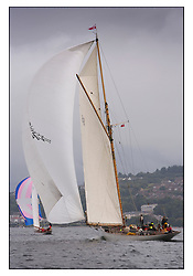 Moonbeam III 1903 Gaff Cutter with Rosemary 1925 Bermudan Sloop...Sunday race from Largs to Rhu started damp but briefly lifted for a downwind race to the upper Clyde...* The Fife Yachts are one of the world's most prestigious group of Classic .yachts and this will be the third private regatta following the success of the 98, .and 03 events.  .A pilgrimage to their birthplace of these historic yachts, the 'Stradivarius' of .sail, from Scotland's pre-eminent yacht designer and builder, William Fife III, .on the Clyde 20th -27th June.   . ..More information is available on the website: www.fiferegatta.com . .Press office contact: 01475 689100         Lynda Melvin or Paul Jeffes