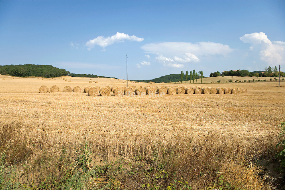 French landscape with bales of straw on harvested field