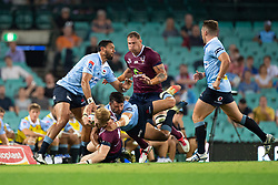 March 9, 2019 - Sydney, NSW, U.S. - SYDNEY, NSW - MARCH 09: Reds player Isaac Lucas (15) hit in a big tackle from Waratahs player Adam Ashley-Cooper (13) at round 4 of Super Rugby between NSW Waratahs and Queensland Reds on March 09, 2019 at The Sydney Cricket Ground, NSW. (Photo by Speed Media/Icon Sportswire) (Credit Image: © Speed Media/Icon SMI via ZUMA Press)