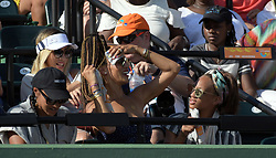 March 21, 2018 - Key Biscayne, Florida, United States Of America - KEY BISCAYNE, FL - MARCH 21: Naomi Osaka of Japan defeats Serena Williams of the United States during the Miami Open Presented by Itau at Crandon Park Tennis Center on March 21, 2018 in Key Biscayne, Florida. ...People:  Alexis Welch-Stoudemire. (Credit Image: © SMG via ZUMA Wire)
