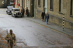© Licensed to London News Pictures. 26/10/2018. Kent, UK. British actress Gemma Arterton (not pictured) filming for a new film Summerlands. Parts of North Kent were transformed in to a Second World War scene for the filming. Photo credit: Graham Long/LNP