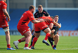 James Short of Exeter Braves tackles Billy Walker of Saracens Storm-Mandatory by-line: Nizaam Jones/JMP - 22/04/2019 - RUGBY - Sandy Park Stadium - Exeter, England - Exeter Braves v Saracens Storm - Premiership Rugby Shield