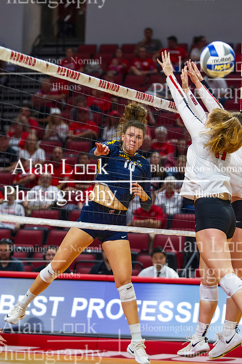 BLOOMINGTON, IL - September 15: Allie Barber strikes the ball past Sydney Holt during a college Women's volleyball match between the ISU Redbirds and the Marquette Golden Eagles on September 15 2019 at Illinois State University in Normal, IL. (Photo by Alan Look)