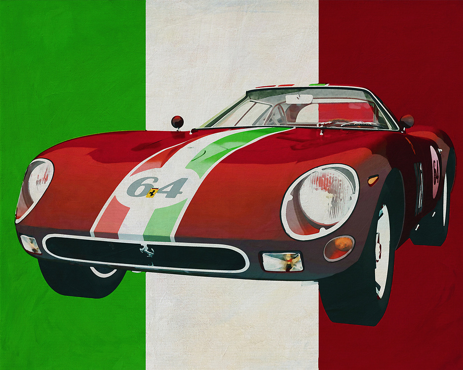The design of the 1964 Ferrari 250 GTO is so exceptional for Ferrari that you'll be amazed when you see it. However, the chance that you will come across a Ferrari 250 GTO from 1964 in your street is extremely small. This Ferrari is so exclusive that it can only be seen at vintage car fairs or in a museum; actually this is a pity because with the Ferrari 250 GTO from 1964 the famous Italian car brand has made a very exceptional sports car. -<br /> <br /> BUY THIS PRINT AT<br /> <br /> FINE ART AMERICA<br /> ENGLISH<br /> https://janke.pixels.com/featured/ferrari-250-gto-from-1964-the-maverick-of-ferrari-jan-keteleer.html<br /> <br /> <br /> WADM / OH MY PRINTS<br /> DUTCH / FRENCH / GERMAN<br /> https://www.werkaandemuur.nl/nl/werk/Ferrari-250-GTO-uit-1964-het-buitenbeentje-van-Ferrari/637090/134?mediumId=1&size=70x55