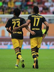 20170930, 1.BL, Bundesliga, FC Augsburg vs BVB Dortmund, WWK Arena Augsburg, Fussball, Sport im Bild:..Jubel zum 0:2 Shinji Kagawa (BVB) und Pierre- Emerick Aubameyang (BVB)...*Copyright by:  Philippe Ruiz..Postbank Muenchen.IBAN: DE91 7001 0080 0622 5428 08..Oberbrunner Strasse 2.81475 MŸnchen, .Tel: 089 745 82 22, .Mobil: 0177 29 39 408..( MAIL:  philippe_ruiz@gmx.de ) ..Homepage: www.sportpressefoto-ruiz.de. (Credit Image: © Philippe Ruiz/Xinhua via ZUMA Wire)