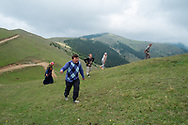 Yilmaz Civelek (front) walking up a hill near his home in the small village of Alaca Yaylası, in Turkey's northern Pontic mountains, and a common place for whistling as a method of communication.