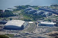 Fornebu Arena / Telenor Arena i Bærum. Hjemmebanen til Stabæk fra 2009.<br /> Flyfoto / Arena / Aerial Photo Fornebu/Snarøya, 29. juli 2008.<br /> Foto: Peter Tubaas/Digitalsport