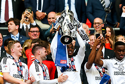 Free to use courtesy of Sky Bet. Ryan Sessegnon lifts the trophy as Fulham celebrate winning the game 0-1 to win the Sky Bet Championship Play-Off Final and secure Promotion to the Premier League - Rogan/JMP - 26/05/2018 - FOOTBALL - Wembley Stadium - London, England - Aston Villa v Fulham - Sky Bet Championship Play-Off Final.