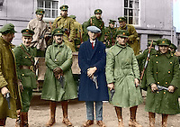 Irish National Army soldiers taking over at the Curragh camp after the British withdrawal, 1922. General J.J. 'Ginger' O'Connell, Deputy Chief of Staff is third from the left. This image has been digitally edited to add colour to its original black and white format. <br /> (Part of the Independent Newspapers Ireland/NLI Collection)
