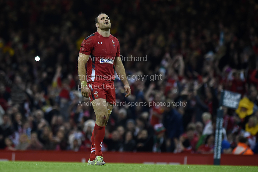 Jamie Roberts of Wales looks on.  Dove Men series 2014, autumn international rugby, Wales v Fiji at the Millennium Stadium in Cardiff, South Wales on Saturday 15th November 2014.<br /> pic by Andrew Orchard, Andrew Orchard sports photography.