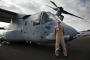 USA, Oregon, Hillsboro, MV-22 Osprey and the copilot from the demonstration flight at Oregon International Airshow.