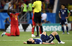 July 2, 2018 - Rostov, RUSSIA - Japan player lay down after they lost a round of 16 game between Belgian national soccer team the Red Devils and Japan in Rostov, Russia, Monday 02 July 2018. ..BELGA PHOTO LAURIE DIEFFEMBACQ (Credit Image: © Laurie Dieffembacq/Belga via ZUMA Press)