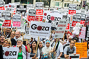 """Stop the 'massacre' in Gaza protest. They assembled at the Israeli Embassy. They called for """"Israel's bombing and killing to stop now and for David Cameron to stop supporting Israeli war crimes"""". London, 01 August 2014. Guy Bell, 07771 786236, guy@gbphotos.com"""