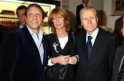 Left to right, the HON.SIR ROCCO FORTE, The Italian ambassador GIANCARLO ARAGONA and his wife SANDRA ARAGONA at a party hosted by the Gussalli Beretta family to celebrate the opening of the new Beretta store, 36 St.James's Street, London SW1 on 10th January 2006.<br />
