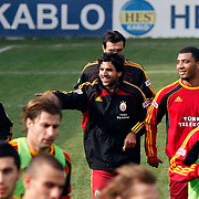 Galatasaray's players Juan Emmanuel CULIO (C) and Colin Kazim RICHARDS (R), Emiliano INSUA (L) during their training session at the Jupp Derwall training center, Thursday, January 13, 2010. Photo by TURKPIX