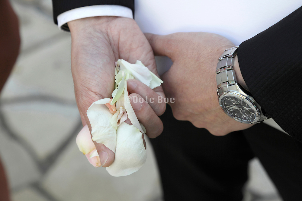 adult male person hand holding flower petals for throwing at a wedding