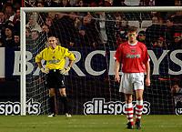 Photo: Daniel Hambury.<br />Charlton Athletic v Manchester City. Barclays Premiership.<br />04/12/2005.<br />Charlton's Dean Kiely and Hermann Hreidarsson look gutted after conceding.