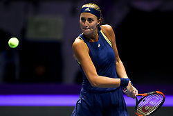 February 1, 2018 - Saint Petersburg, Russia - Kristina Mladenovic of France returns the ball to Dominika Cibulkova of Slovakia during the St. Petersburg Ladies Trophy ATP tennis tournament match in St. Petersburg  (Credit Image: © Igor Russak/NurPhoto via ZUMA Press)
