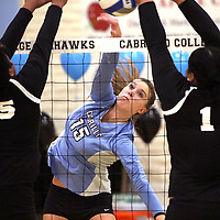 Cabrillo right side Kylie Kvam smashed the ball past the Community College of San Francisco front line during Cabrillo's home victory on November 14, 2017 in Aptos, California.<br /> Photo by Shmuel Thaler <br /> shmuel_thaler@yahoo.com www.shmuelthaler.com