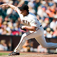 13 April 2008: #38 Brian Wilson of the Giants pitches during the San Francisco Giants 7-4 victory over the St. Louis Cardinals at the AT&T Park in San Francisco, CA.