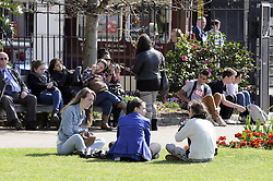 © Licensed to London News Pictures. 24/04/2013.A sunny start to the day this morning (24.04.2013) for  London.Trinity Square Gardens,London EC3..Photo credit : Grant Falvey/LNP
