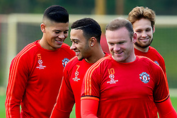Memphis Depay of Manchester United in good spirits during training - Mandatory byline: Matt McNulty/JMP - 07966386802 - 20/10/2015 - FOOTBALL - Aon Training Complex -Manchester,England - UEFA Champions League