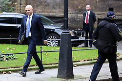 "© Licensed to London News Pictures. 18/12/2018. London, UK. Sajid Javid - Home Secretary arrives in Downing Street for the weekly Cabinet meeting. The Cabinet will discuss the preparations for a ""No Deal"" Brexit. Photo credit: Dinendra Haria/LNP"