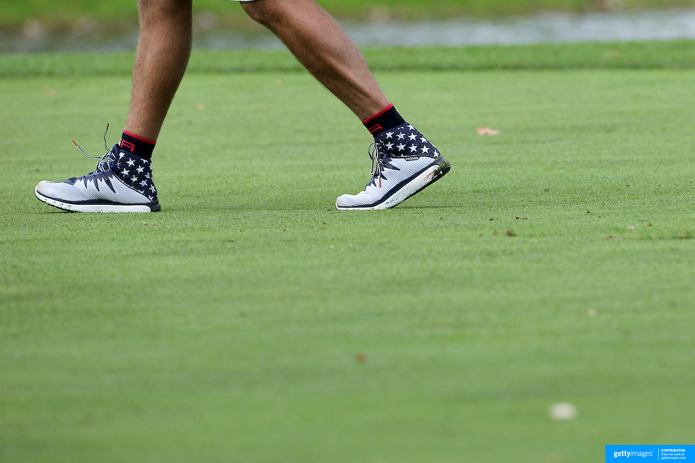 Ryder Cup 2016.  A United States caddie during practice day at the Hazeltine National Golf Club on September 28, 2016 in Chaska, Minnesota.  (Photo by Tim Clayton/Corbis via Getty Images)