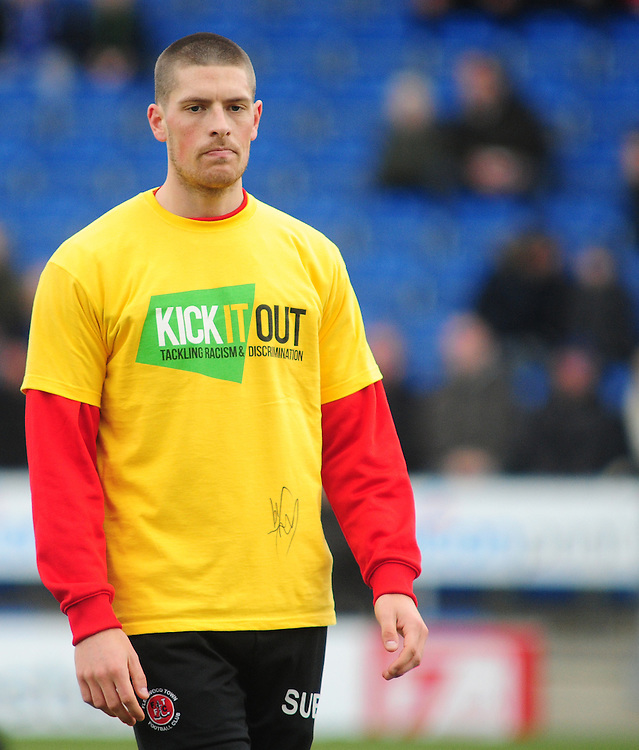 Fleetwood Town's Jamie Proctor during the pre-match warm-up <br /> <br /> Photographer Chris Vaughan/CameraSport<br /> <br /> Football - The Football League Sky Bet League One - Chesterfield v Fleetwood Town - Saturday 28th February 2015 - Proact Stadium - Chesterfield<br /> <br /> © CameraSport - 43 Linden Ave. Countesthorpe. Leicester. England. LE8 5PG - Tel: +44 (0) 116 277 4147 - admin@camerasport.com - www.camerasport.com