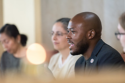 1 December 2019, Madrid, Spain: Lutheran World Federation delegate and council member Khulekani Sizwe Magwaza from the Evangelical Lutheran Church in South Africa shares remarks, as representatives of various faiths gather in the Iglesia de Jesús (Church of Christ) of the Iglesia Evangélica Española (Evangelical Church of Spain) for an interfaith dialogue and prayer service on the eve of the United Nations climate conference (COP25) in Madrid, Spain.
