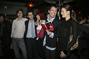 Josh Sykes, Fred Sykes, Valerie Goad, Tom Sykes and Plum Sykes.  Book launch for ' What Did I Do last night' by Tom Sykes. Century Club. Shaftesbury Ave. London. 16 January 2006. -DO NOT ARCHIVE-© Copyright Photograph by Dafydd Jones. 248 Clapham Rd. London SW9 0PZ. Tel 0207 820 0771. www.dafjones.com.