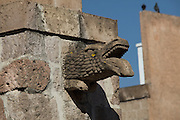 Detail of a gargoyle along the Palacio Clavijero, a Baroque style building in Morelia, Michoacan state Mexico. The city is a UNESCO World Heritage Site and hosts on of the best preserved collection of Spanish Colonial architecture in the world. The Baroque building dating from the mid-seventeenth century was originally the seat of the Jesuit College of San Francisco Javier.