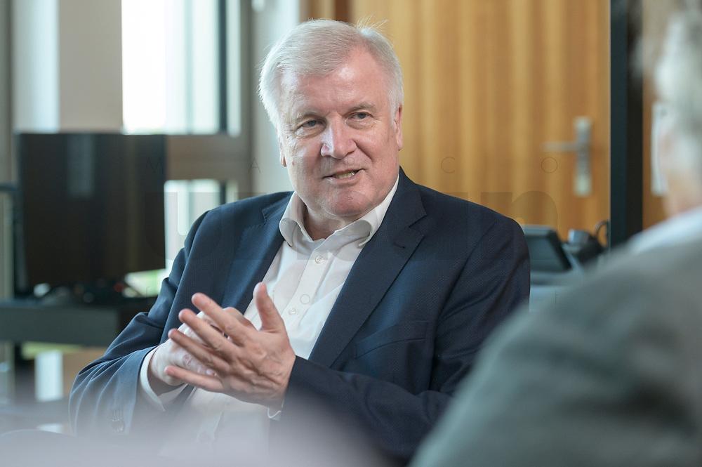 01 JUL 2019, BERLIN/GERMANY:<br /> Horst Seehofer, CSU, Bundesinnenminister, waehrend einem Interview, in seinem Buero, Bundesministerium des Inneren<br /> IMAGE: 20190701-01-020<br /> KEYWORDS: Büro