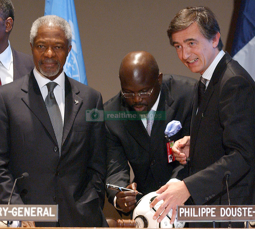 File photo : UN Secretary General Kofi Annan, Liberian soccer star and former presidential candidate George Weah and French Foreign Affairs Minister Philippe Douste-Blazy attend the 'Fight Against AIDS International Drug Purchase Facility' press conference at the United Nations Headquarters in New York, on Friday, June 2, 2006. Former football star George Weah has been elected as Liberia's president. Mr Weah is well ahead of opponent Joseph Boakai with more than 60% of the vote. Photo by Nicolas Khayat/ABACAPRESS.COM