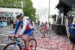 Roxanne Knetemann (NED) of FDJ Nouvelle Aquitaine Futuroscope Team rides to the start of the Tour de Yorkshire - a 122.5 km road race, between Tadcaster and Harrogate on April 29, 2017, in Yorkshire, United Kingdom.