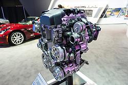 NEW YORK, USA - MARCH 23, 2016: Chevrolet EcoTec 2.0L VVTI-4 turbo engine on display during the New York International Auto Show at the Jacob Javits Center.