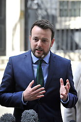 © Licensed to London News Pictures. 15/06/2017. London, UK. (C) Colum Eastwood, leader of the Social Democratic and Labour Party, gives a press conference outside Number 10.  Members of the Northern Ireland Assembly visit Downing Street for talks with Prime Minister Theresa May following the results of the General Election.  The Conservatives are seeking to work with the Democratic Unionist Party in order to form a minority government. Photo credit : Stephen Chung/LNP