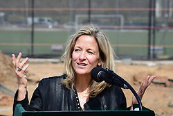 April 13, 2018 - New York City, New York, United States - Prospect Park Alliance President Sue Donoghue speaks. The Prospect Park Alliance, with help from NYC Council Member Mathieu Eugene, broke ground in Prospect Park to start a new adult recreation area in Park's Parade Ground that will include twelve types of fitness equipment and a cooling, misting line near to the soccer fields. (Credit Image: © Andy Katz/Pacific Press via ZUMA Wire)