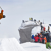 """Sam Kuch takes the last run of the 2020 Kings and Queens of Corbet's competition. I just loved this unique vantage point that I discovered during the 2020 comp. The """"kids"""" built a kicker at the top of the infamous couloir - something new this year. The air they were getting because of it was next level."""