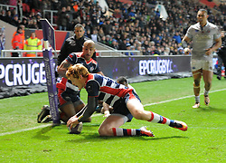Jack Tovey of Bristol Rugby scores a try in the final minutes of the game against Bath Rugby - Mandatory by-line: Paul Knight/JMP - 13/01/2017 - RUGBY - Ashton Gate - Bristol, England - Bristol Rugby v Bath Rugby - European Challenge Cup