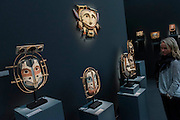 19th Century dance masks - Frieze Masters London 2015, Regents Park, London. It covers several thousand years of art from 130 of the world's leading modern and historical galleries. The vetted artworks spanning antiquities, Asian art, ethnographic art, illuminated manuscripts, Medieval, modern and post-war, Old Masters and 19th-century, photography, sculpture and Wunderkammer are brought together in a singular space designed by Anabelle Selldorf.  The fair is open to the public 14–17 October.