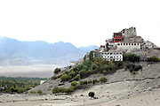 India, Ladakh region state of Jammu and Kashmir, exterior of the Thiksey Monastery built on a mountain slope