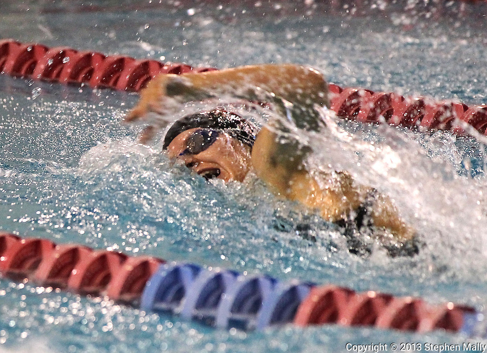 Linn-Mar's Jenn Jenks takes a breath as she competes in the 100 yard freestyle event at the Girls' High School State Swimming & Diving Championships at the Marshalltown YMCA/YWCA in Marshalltown on Saturday, November 9, 2013. Jenks placed third with a time of 52.15.